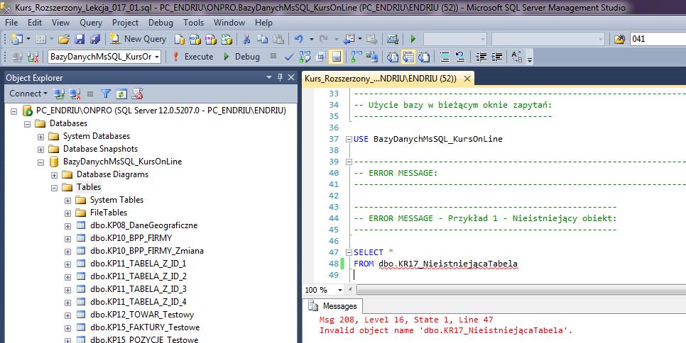 Programowanie SQL Bazy Danych Obsługa Błędów Error Message Raiserror Try Catch Throw